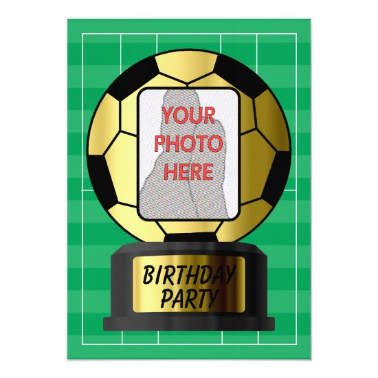 Customizable photo golden soccer ball  invitations