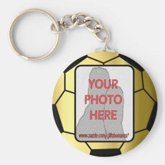 Customizable Photo Golden Soccer Ball Keychain