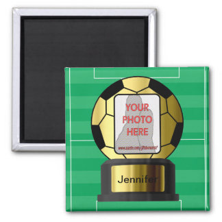 Customizable photo Golden soccer ball magnets