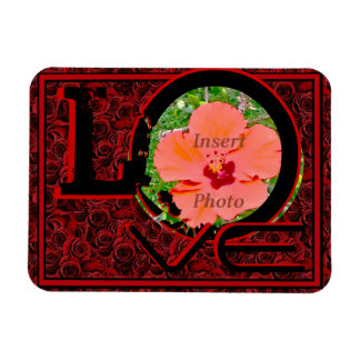 Customizable photo LOVE red roses magnet