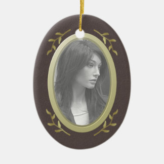 Customizable Photo Memorial / Remembrance Double-Sided Oval Ceramic Christmas Ornament
