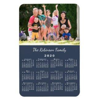 Customizable Photo Name Navy Blue 2020 Calendar Magnet