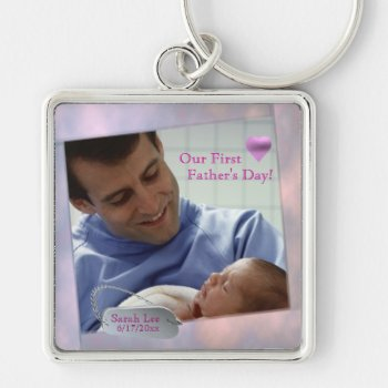 Customizable Photo Our First Fathers Day Key Chain by 4westies at Zazzle