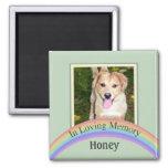 Customizable Photo Pet Memorial (Green) 2 Inch Square Magnet