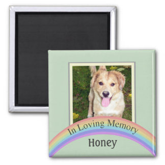 Customizable Photo Pet Memorial (Green) 2 Inch Square Magnet
