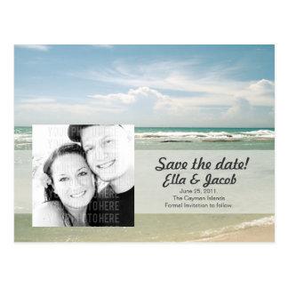 Customizable Photo Save the Date Beach Wedding Postcard