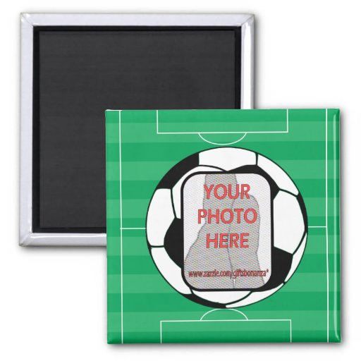 Customizable photo soccer ball 2 inch square magnet