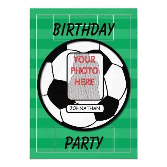 Customizable photo soccer ball party invitation