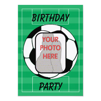 "Customizable photo soccer ball party invitations 5"" x 7"" invitation card"