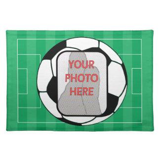 Customizable photo soccer ball placemat