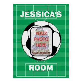 Customizable photo soccer ball room posters