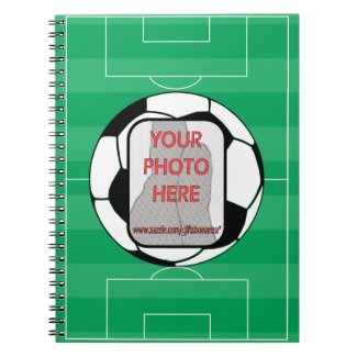 Customizable photo soccer ball spiral note book