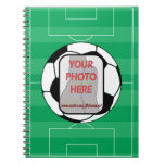 Customizable photo soccer ball spiral note book