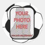 Customizable photo soccer ball stickers