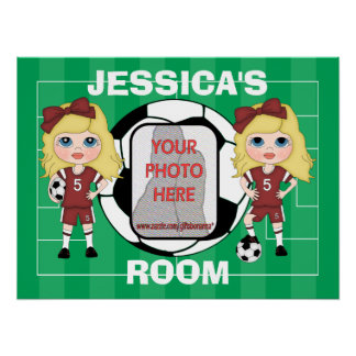 Customizable photo soccer girl room posters