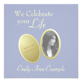 "Customizable Photo: Wake / (Living) Funeral 5.25"" Square Invitation Card"