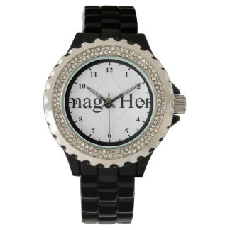 Customizable Photo, Women's Black Enamel Watch
