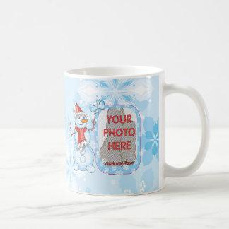 Customizable Photo Xmas Snowman on Snowflakes Mugs