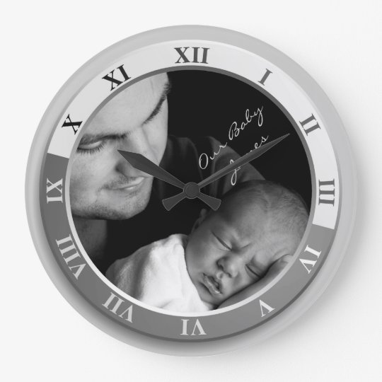 Customizable Photograph Clock Silver Roman Numeral