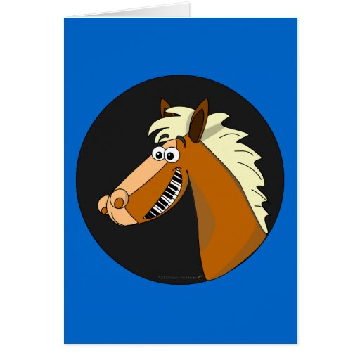 Customizable Piano Horse Greeting Card (blue)