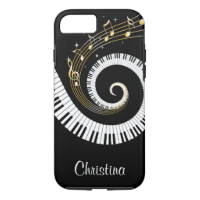 Customizable Piano Keys and Gold Music Notes iPhone 7 Case