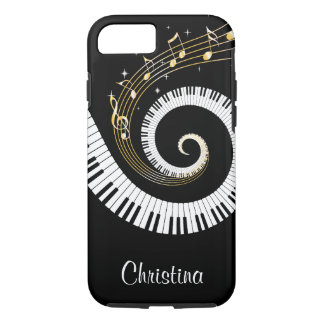 Customizable Piano Keys and Gold Music Notes iPhone 8/7 Case