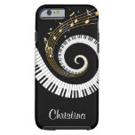 Customizable Piano Keys and Gold Music Notes Tough iPhone 6 Case