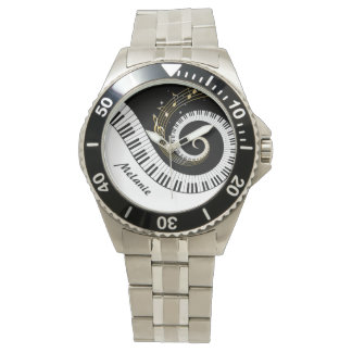 Customizable Piano Keys and Gold Music Notes Watches