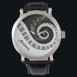 """Customizable Piano Keys and Gold Music Notes Wrist Watch<br><div class=""""desc"""">Personalized Unusual musical design featuring swirling piano keys with gold musical notes flowing from the centre of the keys. This design would make the perfect gift for the piano lover and is available on a collection of gifts and paper products.</div>"""