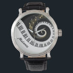 "Customizable Piano Keys and Gold Music Notes Wrist Watch<br><div class=""desc"">Personalized Unusual musical design featuring swirling piano keys with gold musical notes flowing from the centre of the keys. This design would make the perfect gift for the piano lover and is available on a collection of gifts and paper products.</div>"