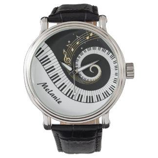 Customizable Piano Keys and Gold Music Notes Wrist Watch