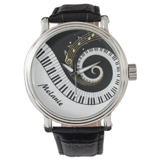 Customizable Piano Keys and Gold Music Notes Wrist Watch