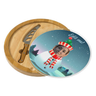 Customizable Picture Snowman Cheese Board