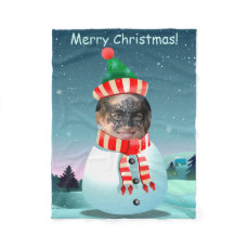 Customizable Picture Snowman Fleece Blanket