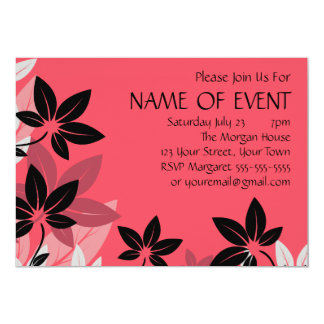 Customizable Pink and Black Floral Card