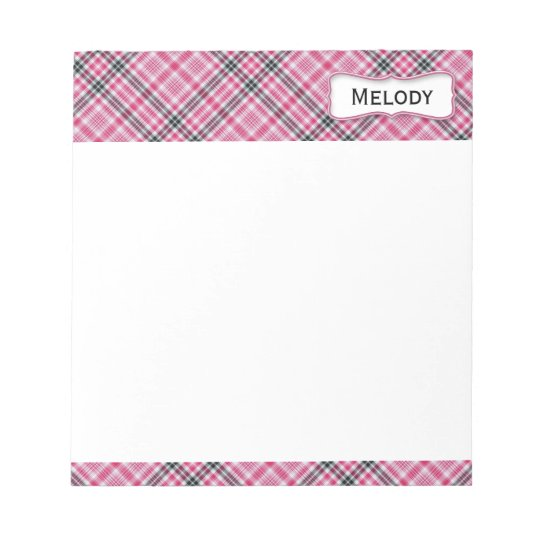 Customizable Pink and Black Plaid Notepad