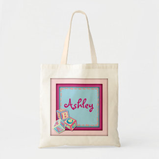 Customizable pink baby blocks carry bag