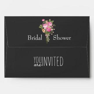 Customizable Pink/Black floral BRIDAL SHOWER Envelope