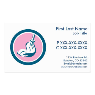 Customizable pink blue mop cleaning business cards