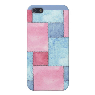 Customizable Pink Blue Patchwork  Cover For iPhone 5