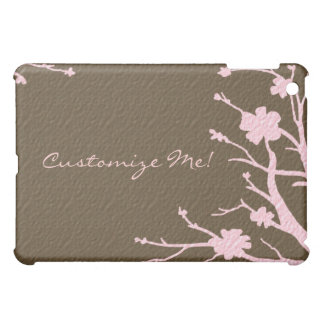 Customizable pink brown floral theme ipad case