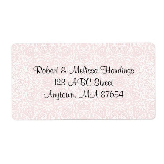 Customizable Pink Classical Bridal Lace Label