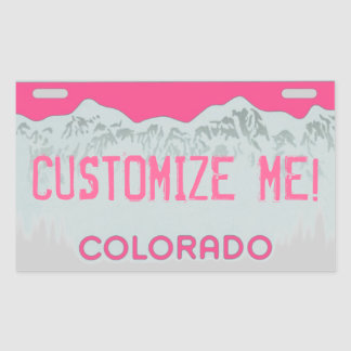 Customizable pink Colorado license plate stickers