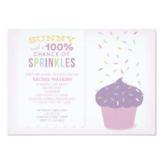 Customizable Pink Cupcake Baby Sprinkle Invitation