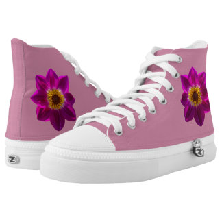 Customizable Pink Dahlia Hightop Sneakers Printed Shoes