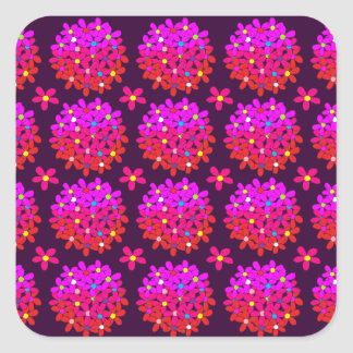 Customizable Pink Daisy Puffs Square Sticker