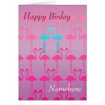 Customizable: Pink flamingo Greeting Card