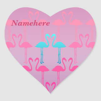 Customizable: Pink flamingo Heart Sticker