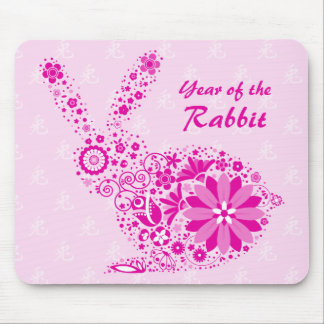 Customizable Pink Flower Rabbit Mouse Pad