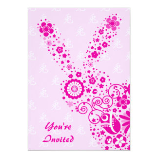 Customizable Pink Flower Rabbit Party Card